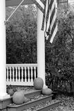 Black and white of flag and pumpkins Royalty Free Stock Photos