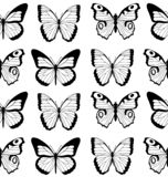 Black and white flat cartoon vector seamless pattern with different butterflies.  vector illustration