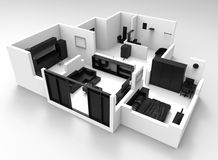 Black and white flat layout. 3D rendered illustration of a black and white flat layout. The walls are colored in white and all the items within the flat are