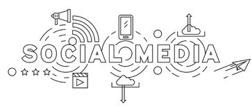 Social Media Line Art Illustration. Black and White Flat Line Design. Youth Doodle Style Vector Design. Business and Networking Co royalty free illustration