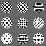 Black and white flat patterned spheres Stock Photography