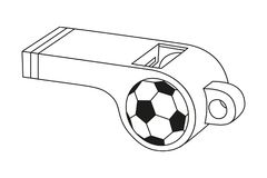 Black and white flat referee whistle for soccer ball. Stock Images