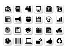Black and white flat shadow icon sets Stock Photos