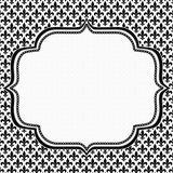 Black and White Fleur De Lis Pattern Textured Fabric with Embroi Stock Photos