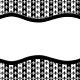 Black and White Fleur De Lis Pattern Textured Fabric with Ribbon Stock Image