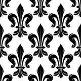 Black and white fleur-de-lis royal pattern Stock Photos