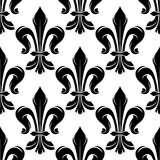 Black and white fleur-de-lis royal pattern stock illustration