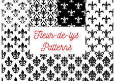 Black and white fleur-de-lis seamless patterns set. Fleur-de-lis seamless patterns set. Black and white vintage backgrounds set with royal victorian fleur-de-lis stock illustration