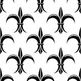 Black and white fleur de lys seamless pattern Stock Image