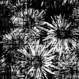 Black and white floral background with stylized asters on grunge striped and stained backdrop royalty free illustration