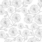 Black and white floral background Stock Photo