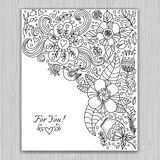 Black and white floral banner for life events, vector. Royalty Free Stock Image