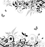 Black and white floral banner Royalty Free Stock Photo