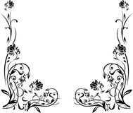 Black and white floral border Royalty Free Stock Photos