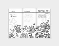 Black and white floral brochure template design Stock Photo