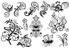 Black and white floral design Royalty Free Stock Image