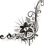 Black & white floral designs Stock Photos