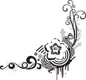 Black & white floral designs stock images