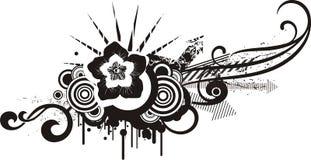 Black & white floral designs stock illustration