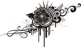 Black & white floral designs Royalty Free Stock Images