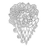 Black and white floral doodle pattern in vector. Henna paisley mehndi doodles design tribal design element. Stock Photo