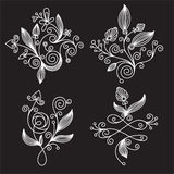 Black-and-white floral  elements Royalty Free Stock Photography