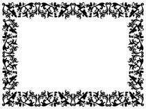 Black and white floral elements on blank frame Stock Photo