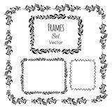 Black and white floral elements and frames set Royalty Free Stock Images