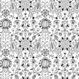Black and white floral folk seamless pattern stock photography