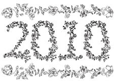 Black and white. Floral font 2010. Fully editable   illustration. Put in Layers for easy edits Royalty Free Stock Image