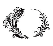 Black and White floral frame Stock Photo