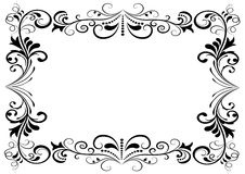 Black and white floral frame Royalty Free Stock Image