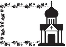 Black and white floral frame with abstract christian temple. Royalty Free Stock Photos