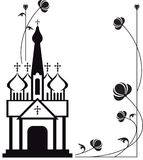 Black and white floral frame with abstract christian temple. Royalty Free Stock Images