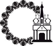 Black and white floral frame with abstract christian temple. Stock Photography