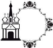 Black and white floral frame with abstract christian temple. Royalty Free Stock Image