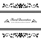 Black and white floral frame Stock Photos