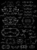 Black and white floral frames and decorative elements for wedding design Stock Images