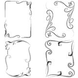 Black and white floral frames. Stock Photography