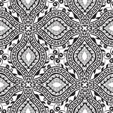 Black and white floral greek key meander seamless pattern. Vector abstract geometric monochrome background. Hand drawn decorative ethnic style ornaments stock illustration