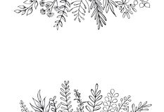 Black and white floral hand drawn farmhouse style outlined twigs branches header border background. With place for text Royalty Free Stock Images