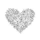Black and white floral heart Royalty Free Stock Images