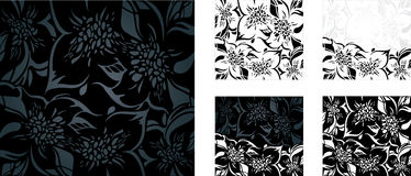 Black and white floral holiday background set Royalty Free Stock Photo
