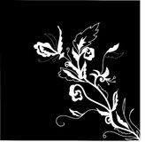 Black and white floral illustration. With copy space Royalty Free Stock Photos