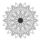 Black and white floral leaf line art Mandala Illustration royalty free stock photo