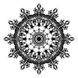 Black and white floral leaf line art Mandala Illustration stock photo