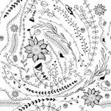 Black-white floral magic seamless pattern. Vector illustration. Royalty Free Stock Photo