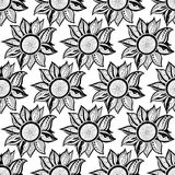 Black-white floral magic seamless pattern. Vector illustration. Stock Images