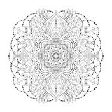 Black and white floral mandala vector. Floral mandala with leaves, black and white isolated mehendi ornament. Art element in boho style. Can be use for coloring royalty free illustration