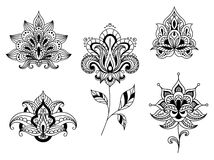 Black and white floral motifs of persian paisleys Royalty Free Stock Images